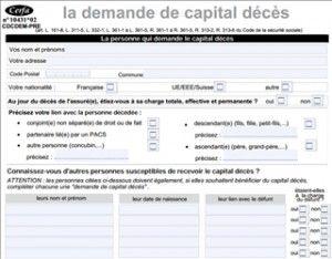 Formulaire pour la demande de capital décès